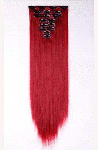 Set in 8 Tressen 18clips Clip in Haarverl?ngerung ca.58cm(23 Zoll) Glatt Gerade Dunkelrot Vollen Kopf Haarteil Haarverdichtung (Haar Verlängerung Rot)