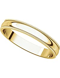 14ct Yellow Gold, Light Milgrain Wedding Band 3MM (sz H to Z5)