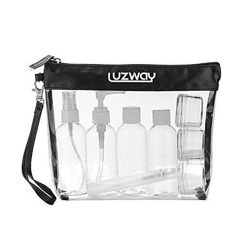 Neceser Transparente, LUZWAY Bolsa de Cosméticos Impermeable, Bolsa de Aseo Claro PVC + 8 Botellas de Viaje (max.100ml), Transporte de Líquidos en Avión para Mujer y Hombre Color Negro