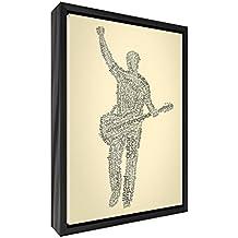 Feel Good Art elegante y moderno, sólido Fronted y multicolor en negro enmarcado pared lienzo en Quirky cuadro macho guitarrista design-cream, 44x 34x 3cm (tamaño mediano), madera, Off/blanco, 34x 24x 3cm