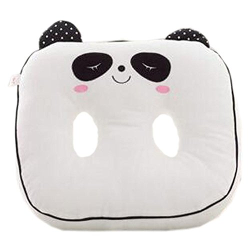 Intérieur/extérieur Soft Home/Bureau Siège carré Coussin respirant Coussin double trou, Panda blanc