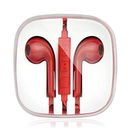 ALPEXE Ecouteur Stéréo pour Apple iPhone 3G/3Gs/4G/5/5S/5Se/6 Roug