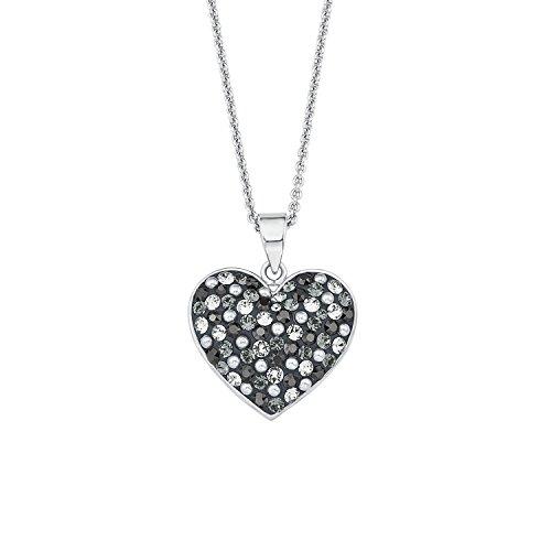 Noelani Damen-Kette mit Anhänger Herz rhodiniert veredelt mit Swarovski Kristallen 42+3 cm
