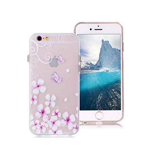 Custodia iPhone 6/6S AllDo Custodia in Silicone Luminoso Bagliore nel Buio Cover di Gomma Trasparente Custodia Liscio Leggero Case Disegno di Modello Stampato Custodia Morbida Flessibile con Bottoni L Fiore&Farfalla