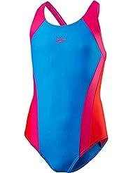 Speedo Girls 'Contraste Panel Splashback–Bañador para mujer, niña, color Danube/Electric Pink/Risk Red, tamaño talla 30