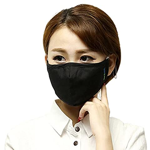 Yeeco Man Woman Comfort Anti PM 2.5 Pollen Dust Actived Carbon Filtering Reusable Face Mouth Warm Masks with Adjustable Earloop (Black)