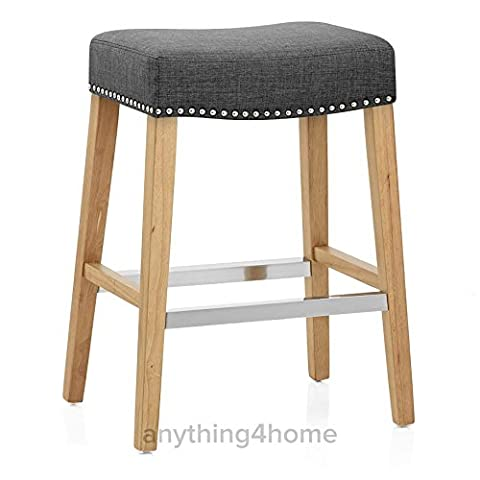 CrazyGadget® Fabric Home Kitchen BAR STOOL Barstool Bar Pub Breakfast Counter Seat Stool Chair with Wooden Oak Legs