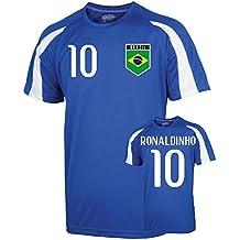 UKSoccershop Brazil Sports Training Jersey (Ronaldinho 10)