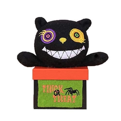 (Hffan Halloween Kind Unsex Junge Mädchen Pralinenschachtel Kreativ Lustige Puppenkiste Kleine Schachtel Halloween-Ornamente Hexe Vampir Schwarze Katze Kürbis(Schwarz,One size))