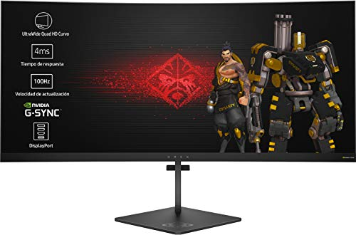 HP OMEN X 35 - Monitor para PC Desktop G-sync  + altura ajustable  de 88,90 cm (35 pulgadas, 300 cd / m², 3440 x 1440 pixeles, 4 ms, LED, UltraWide Quad HD)