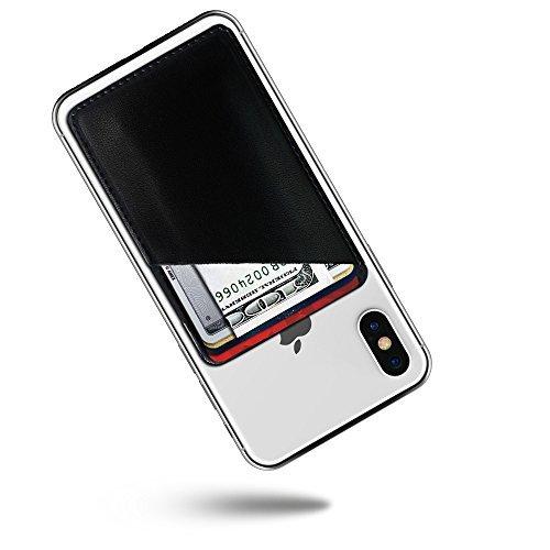 Kartenhalter für die Rückseite des Handys, aus Leder, selbstklebend, Kreditkartenfach und Bargeld, für iPhone/Samsung Galaxy, Schwarz, Middle, schwarz (5 Otterbox Nexus Case)