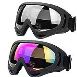 JTENG Occhiali da Sci Snowboard Confezioni di Occhiali da Sci per Uomo, Donna, con UV400, per l'Equitazione,Slitta Protezione,Antivento,Antiriflesso Lenti e Antipolvere(Multicolore/Grey)