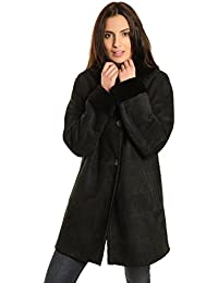 Manteau peau lainee femme solde