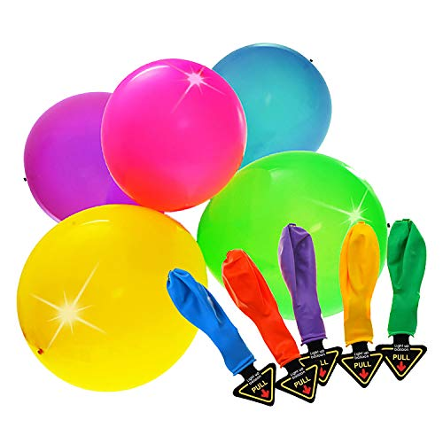NAYRO 50pz Palloncini LED Colorati - Palloncini Luce LED Lampeggianti Ideali per Compleanni Party Eventi Feste Matrimoni - 10 Colori Diversi