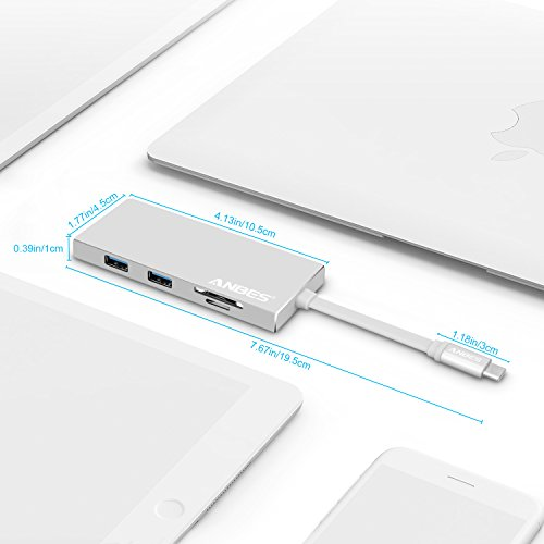 USB C Hub Anbes metallic USB C Adapter 31 using 4K HDMI Port USB Type C Charging Port 2 USB 30 Ports SD Micro SD Card Reader for MacBook Pro 2015 2016 2017 and additional Type C gadgets Silver USB Hubs