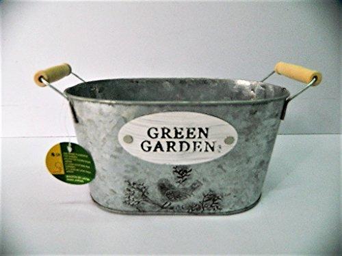 petite jardinière fleurs en tôle ovale galvanisé 22x13x12cm 57f81443b497