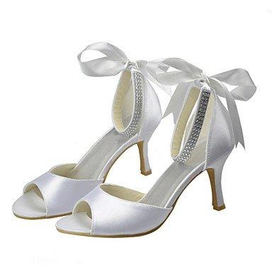 RTRY Donna Scarpe Matrimonio Della Pompa Base Raso Elasticizzato Summer Party Di Nozze &Amp; Sera Crystal Stiletto Heel Bianco Avorio 3A-3 3/4In US10.5 / EU42 / UK8.5 / CN43