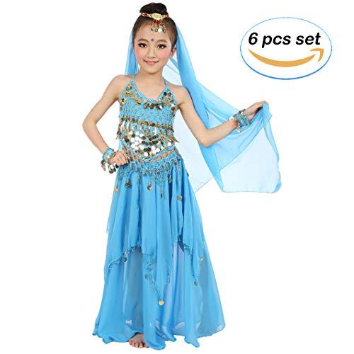Bauchtanz Kostüm Sie Eine Machen - Magogo Mädchen Bauchtanz Kostüm Karneval Party Kostüm, Kinder Glänzende Dancewear Cosplay Arabische Prinzessin Outfit (L, Hellblau)