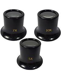 Uhrmacherlupe Juwelierlupe 3tlg Set Uhrmacher Auge Okular mit 20 mm Glaslinse Vergrößerung Faktor 5 7 10