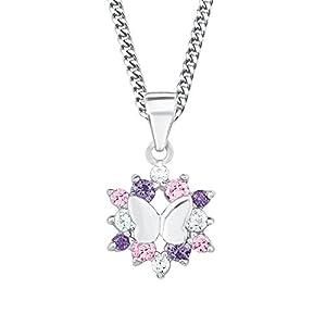 Prinzessin Lillifee Kinder-Kette Mädchen mit Anhänger Schmetterling 925 Silber Zirkonia rosa lila längenverstellbar