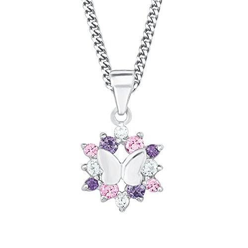 Prinzessin Lillifee Kinder-Kette mit Anhänger Mädchen Schmetterlinge 925 Silber rhodiniert Zirkonia rosa lila 38 cm längenverstellbar