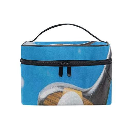 Kosmetiktasche, Make-up Tasche, Cosmetic Bag Golf Ball On Red Tee Womens Makeup Organizer Girls Toiletry Case Box Lazy Zip Bag