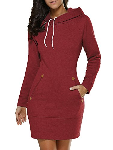 Hey~Yo Winter Damen Pullover Langarm Jacke Lange Top Sweatshirt Pullover Hohem Hals Tops Jumper Rot