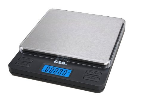 G & G LSH 2000g / 0,1g Taschenwaage Extra große Wägefläche, 2 Trays, AAA Batterien