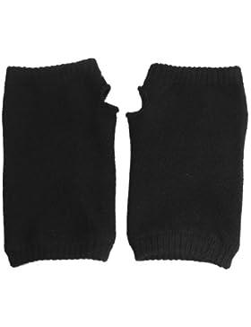 Gleader guanti invernali senza dita elastico nero in acrilico a maglia per le donne