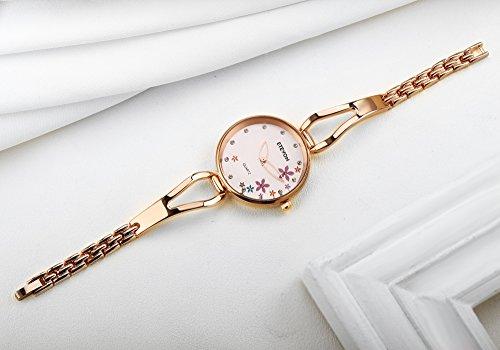 ETEVON Women's Quartz Rose Gold Armband Uhr mit Strass Blumen Zifferblatt und Edelstahl Case, stilvolle Casual Dress Handgelenk Uhren für Damen - 6