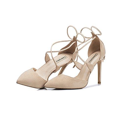 8.5cm, 10.5cm couleur nude Europe et le banquet creux des États-Unis a souligné des talons hauts, anneau de pied d'or sexy avec de fines sandales simples des femmes