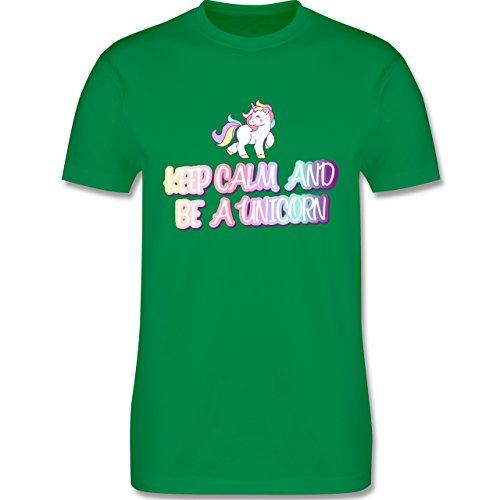 Nerds & Geeks - Keep Calm and Be a Unicorn - Herren T-Shirt Rundhals Grün