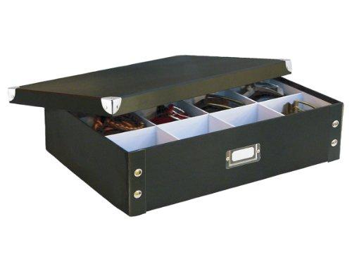 zeller-17789-boite-de-rangement-en-carton-pour-cravates-et-ceintures-noir-445-x-315-x-11-cm