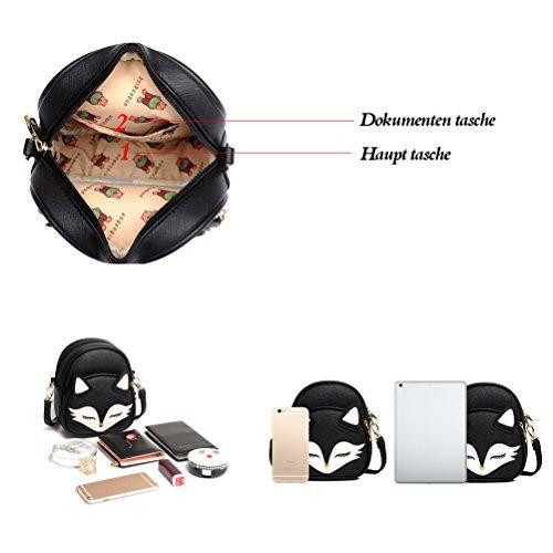 Honeymall Donne Borsa a Tracolla bella della stampa di Volpe Mini-pacchetto Cute Stampa Animale PU Cuoio Borsa Rosa Blu