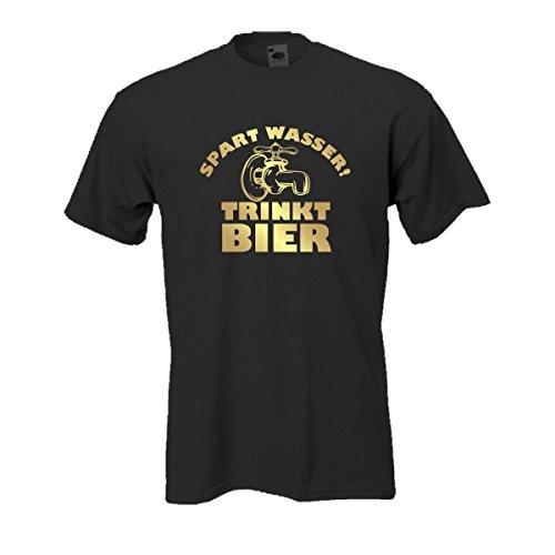 Spart Wasser trinkt Bier, bedrucktes T-Shirt mit lustigem witzigen Spruch Spaß Geschenk oder Party Gag auch große Größen Funshirt S-5XL (FSB002) Mehrfarbig