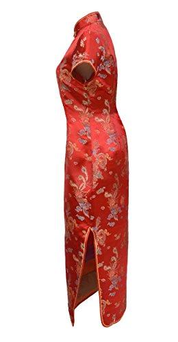 Chinesisches kleid qipao abendkleid lange ärmelkurz von Größe 38 bis 50 Rot
