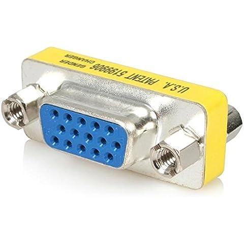 StarTech.com Adaptador Cambiador de Género VGA - Acoplador Unión de Conectores HD15 Hembra a Hembra - Adaptador para cable (VGA, VGA, Hembra/hembra, Azul, Metálico, Amarillo, 1,7 cm, 3 cm)