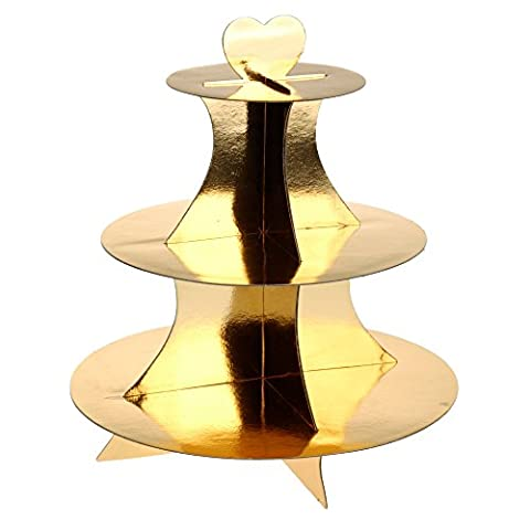 3 Tier Christmas Xmas Party Cardboard Fairy Cup Cake Cupcake Muffin Stand (Gold)