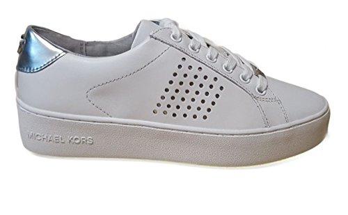 MICHAEL MICHAEL KORS Poppy Lace Up Sneaker in pelle, Bianco, EUR 39