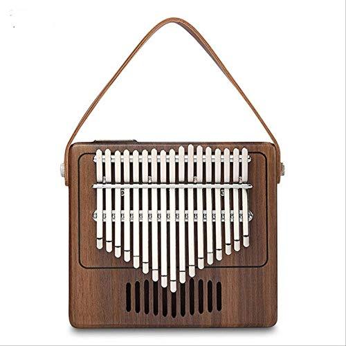 Xjwq Daumen Klavier Tk - R1 17-Tasten Kalimba Daumen Klavier Nussbaum Holz Musikinstrument Spezielle Vintage Radio Form Magic Music Box Mit Lederband Kaffee