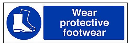 vsafety 41088ax-s tragen Schutz Schuhe Pflicht Schutzbekleidung Schild, selbstklebend, Landschaft, 300mm x 100mm, blau