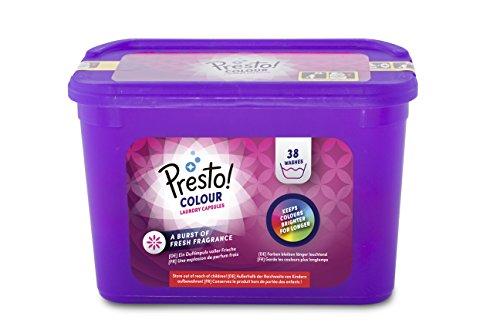 Amazon-Marke: Presto! Pods Color-Waschmittel 152 Waschgänge (4 x 38 Waschladungen)
