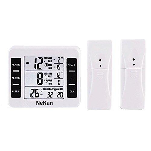 Thermometer Digital Innen NeKan Kühlschrankthermometer Wasserdicht Gefrierschrank mit Gut Lesbarem LCD-Anzeige Lesen Max/Min Funktion Perfekt für Wohnhaus Restaurants Bars Cafes