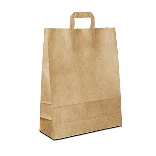 100 x Papiertüten braun 32+12x40 cm | stabile Einkaufstasche | Tragetaschen Flachhenkel | Kraftpapiertüten Mittel | Paper Bag | HUTNER