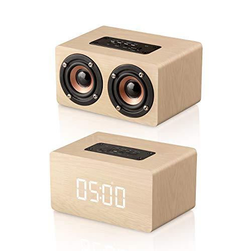 Altavoz Bluetooth 4.2 Inalámbrico, Reloj Despertador de Madera, LED Pantalla, Alarma Programable, Llamada...