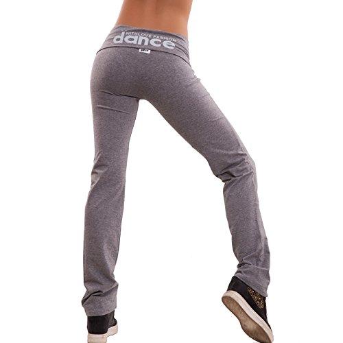 Toocool - Pantaloni sportivi donna tuta dance sport fitness elastici palestra corsa cotone vita bassa CH93 Grigio