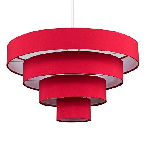 MiniSun – Moderna pantalla para lámpara de techo, con 4 niveles y tejido rojo
