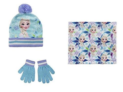 Disney Die Eiskönigin 2200-2445 Kinder Winter Set, Beanie Mütze, Schlauchtuch Multifunktionstuch und Handschuhe, Pompon, Acryl, Eine Größe, Mehrfarbig, (Elsa Handschuhe Frozen)