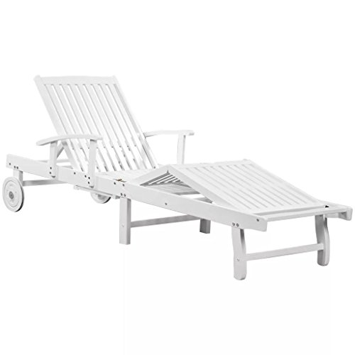 Tuduo sedia a sdraio in legno massello di acacia 200x68x86 cm bianco design semplice ed elegante, robusto e stabile lettino mare lettino prendisole sdraio prendisole