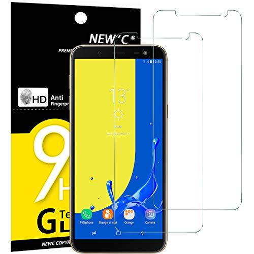 NEW'C PanzerglasFolie Schutzfolie für Samsung Galaxy J6, [2 Stück] Frei von Kratzern Fingabdrücken & Öl, 9H Härte, HD Bildschirmschutzfolie, BildschirmschutzfolieSamsung Galaxy J6